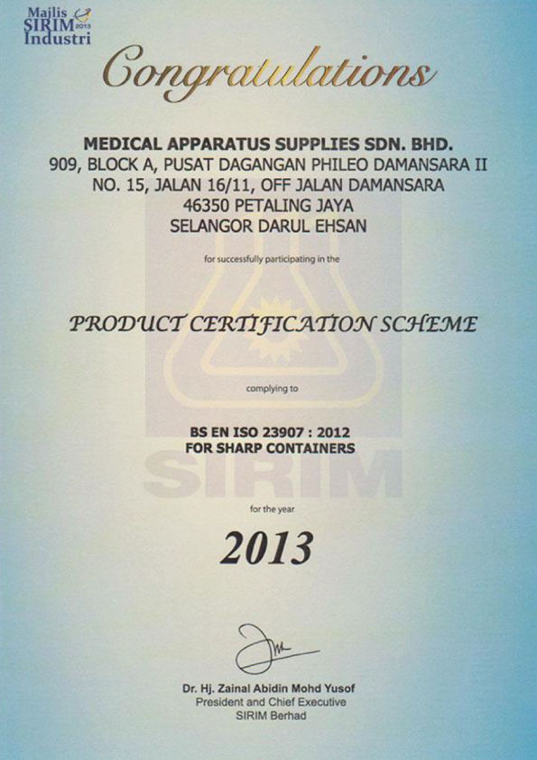 Product Certification Scheme complying to BS EN ISO 23907:2012 2013